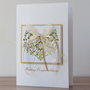 Luxury Boxed Wedding Card 'Gold Wedding Heart'