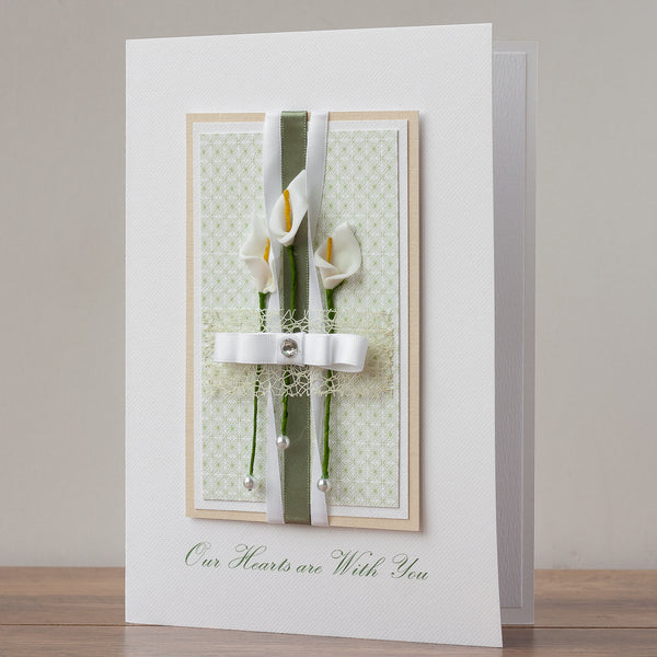 Luxury Boxed Sympathy Card 'Our Hearts are With You'