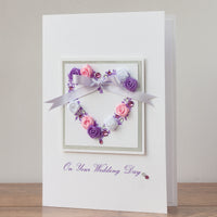 Luxury Boxed Wedding Card 'Lilac Wedding Heart'
