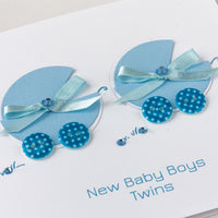 Handmade New Baby Card 'Double Miracle - Twin Boys'