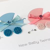 Handmade New Baby Card 'Double Miracle - Boy & Girl'