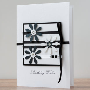 Luxury Boxed Birthday Card 'Black and White Daisies'
