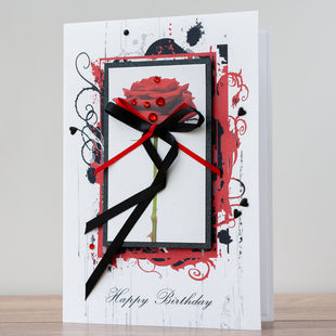 Luxury Boxed Birthday Card 'Red Rose'
