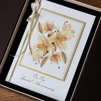 Luxury Boxed Anniversary Card 'Golden Lilies'