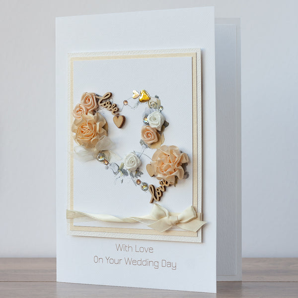 Luxury Boxed Wedding Card 'Entwined Hearts'