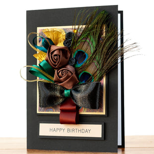Luxury Boxed Birthday Card 'Peacock Bouquet'