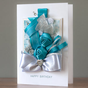 Luxury Boxed Birthday Card 'Aqua Blue'