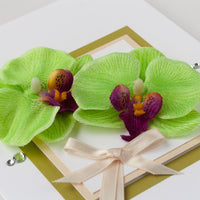Luxury Boxed Anniversary Card 'Orchids'