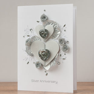 Luxury Boxed Anniversary Card 'Silver Wishes'