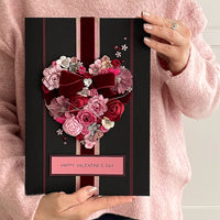 A4 Boxed Handmade Valentines Card 'Heart of Roses'