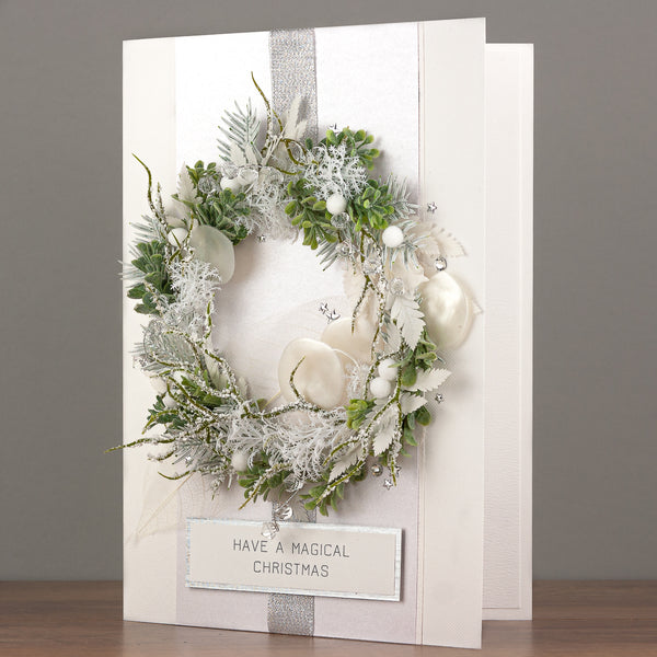 A4 Boxed Handmade Christmas Card 'Frosty Wreath'