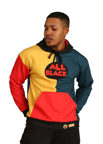 90s All-Black Colorblock Unisex Hoodie - Royal Blakk