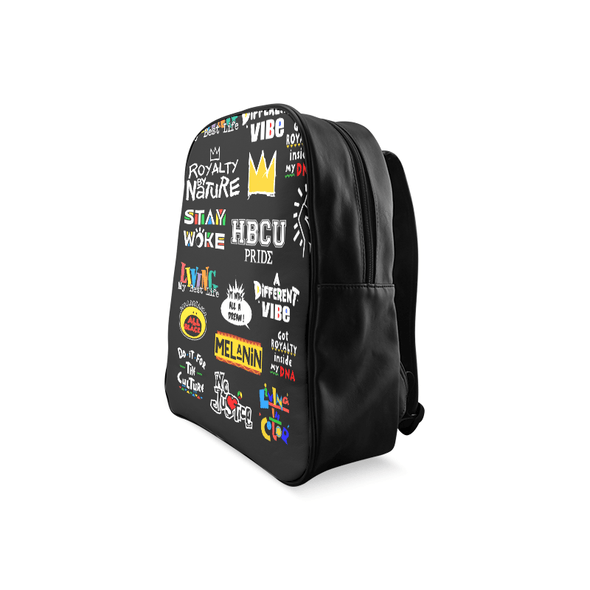 Black Collage Backpack - Leather Collage Backpack | Royal Blakk