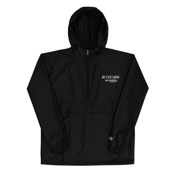 Black Love Matters Embroidered Champion Packable Jacket - Royal Blakk