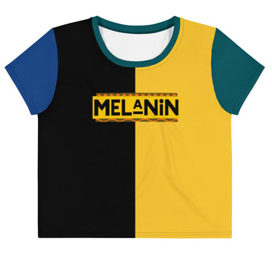 Melanin All-Over Print Crop Tee - Royal Blakk