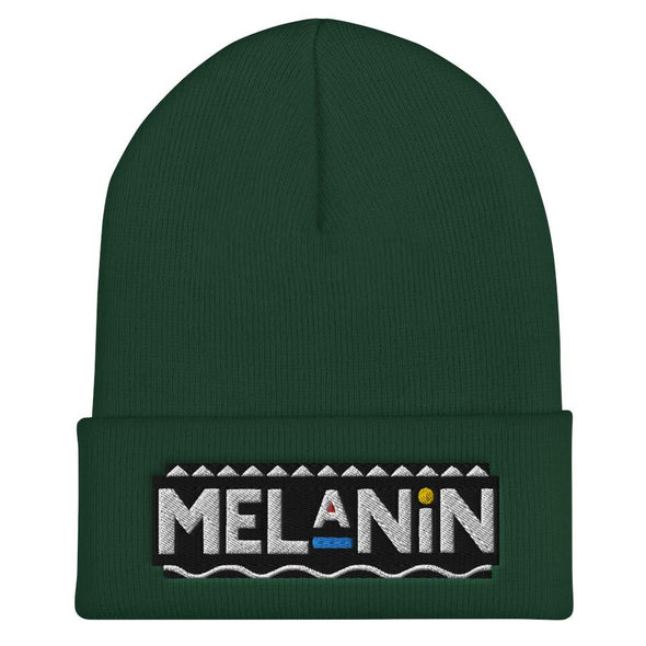 Melanin Cuffed Beanie (Black) - Royal Blakk