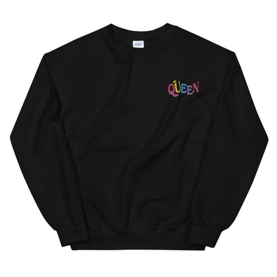 'Queen' Embroidered Unisex Sweatshirt - Royal Blakk