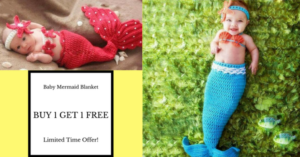 Buy 1 Get 1 Free Hand Knitted Mermaid Tail Blankets For Newborn