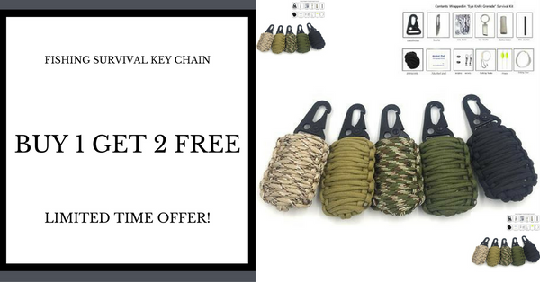 Buy 1 Get 2 Free Paracord Fishing Tools Key Chain Survival Kit