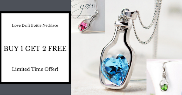 Buy 1 Get 2 Free Love Drift Bottle Necklace (Three Different Colors)
