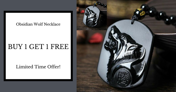Buy One Get One Free Black Obsidian Wolf Necklace
