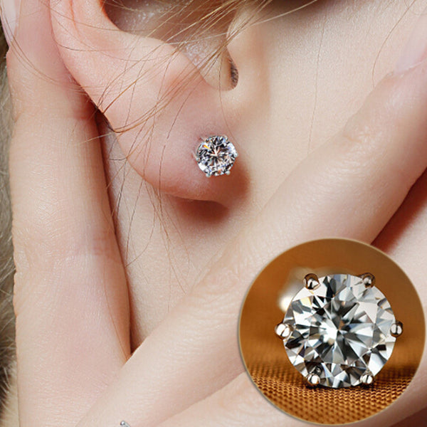 Crystal Silver Stud Earrings - A3IM Fashions