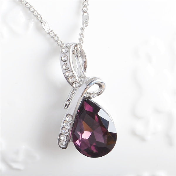 Austrian Crystal Water Drop Pendant Necklace - A3IM Fashions
