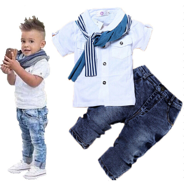 Boys Denim 3Pcs Clothing Sets (Short-Sleeved T-Shirt+Denim Jeans+Scarf) - A3IM Fashions
