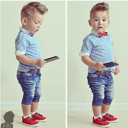 Boys Denim 3Pcs Clothing Sets (Short-Sleeved T-Shirt+Denim Jeans+Scarf)