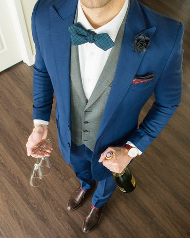 Blue Wedding Suit and Bow Tie