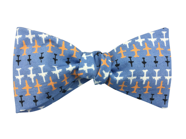 Airplanes on Blue Self-Tie Bow Tie