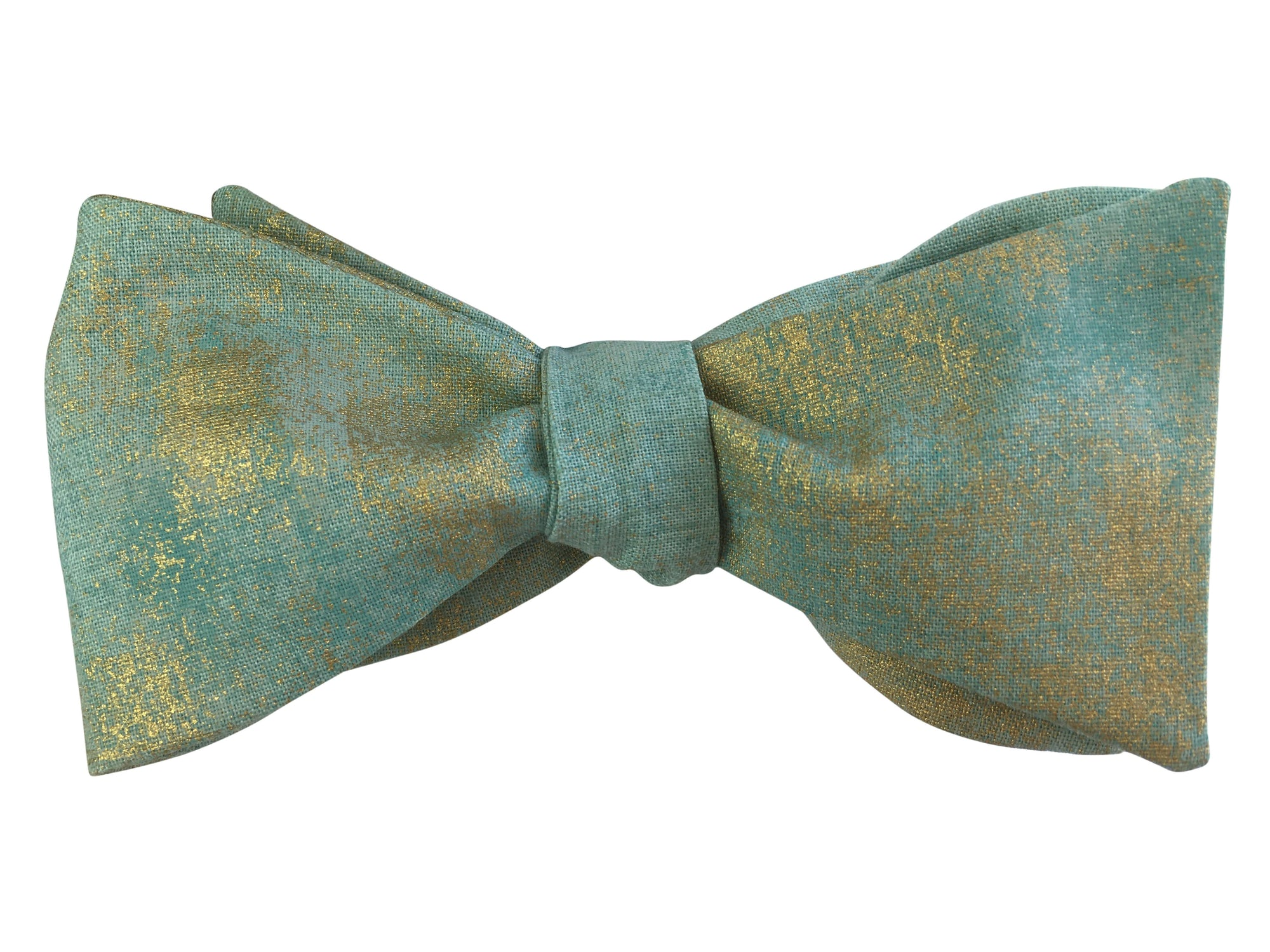 Aqua Blue & Gold Bow Tie