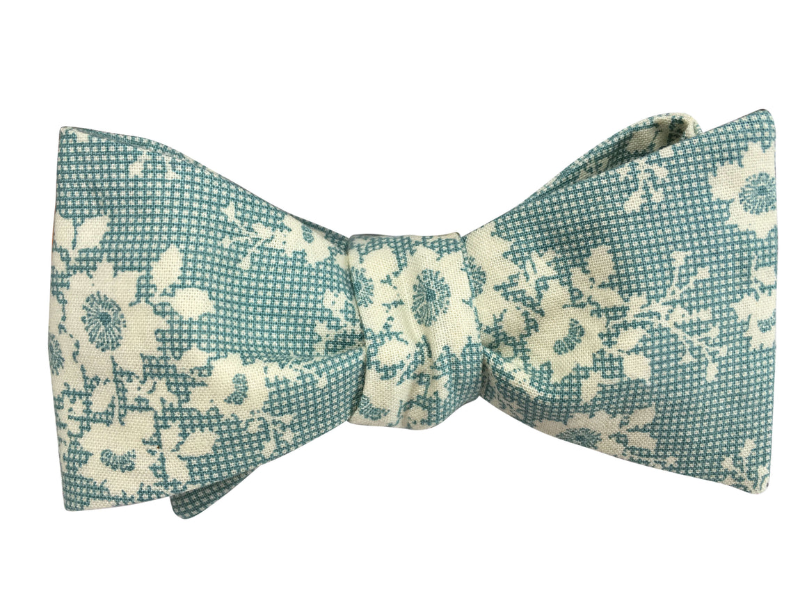Aqua Pixel and Floral Self Tie Bow Tie