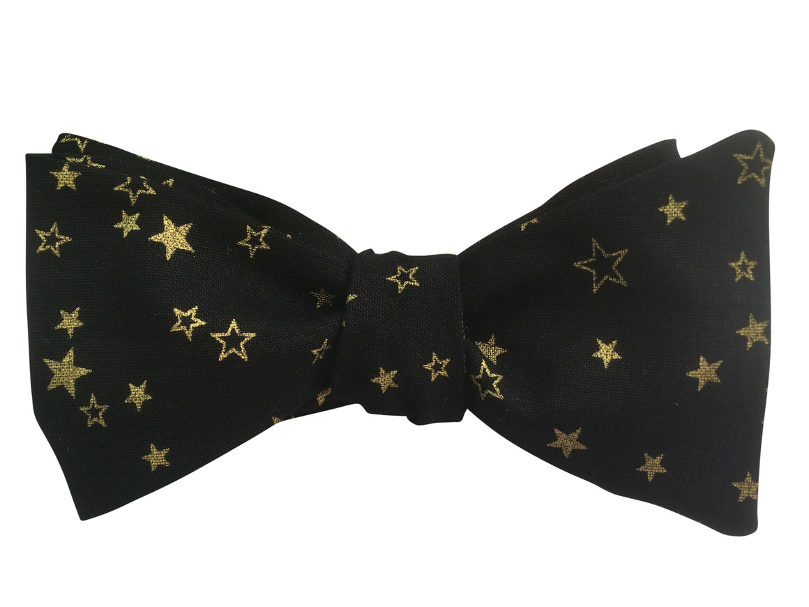 Festive Black & Gold Stars Bow Tie