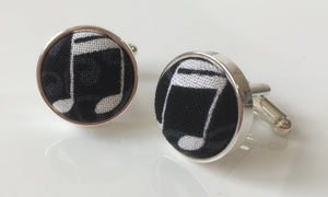 Cufflinks Funky Black Music Notes