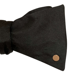 Black Silk Bow Tie with 9ct Rose Gold Disc