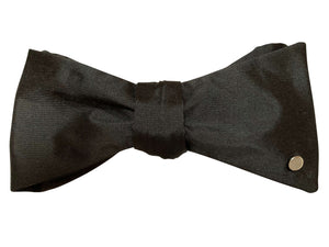 Black Silk Bow Tie with 9ct White Gold Disc
