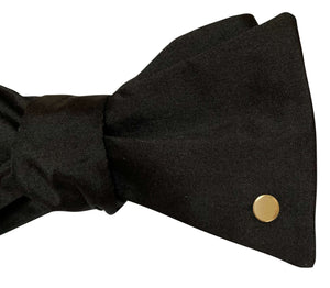 Black Silk Bow Tie with 9ct Yellow Gold Disc