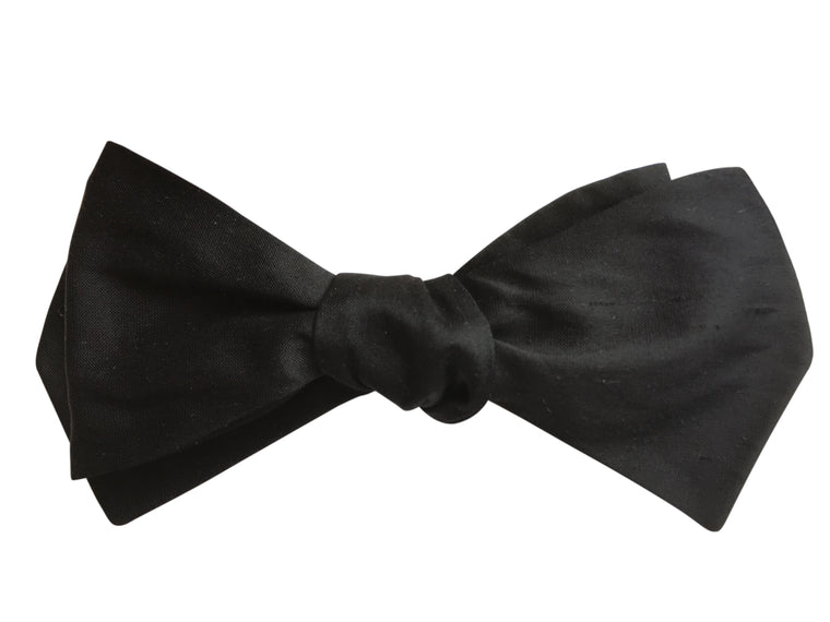 Black Silk Diamond Point Self-Tie Bow Tie