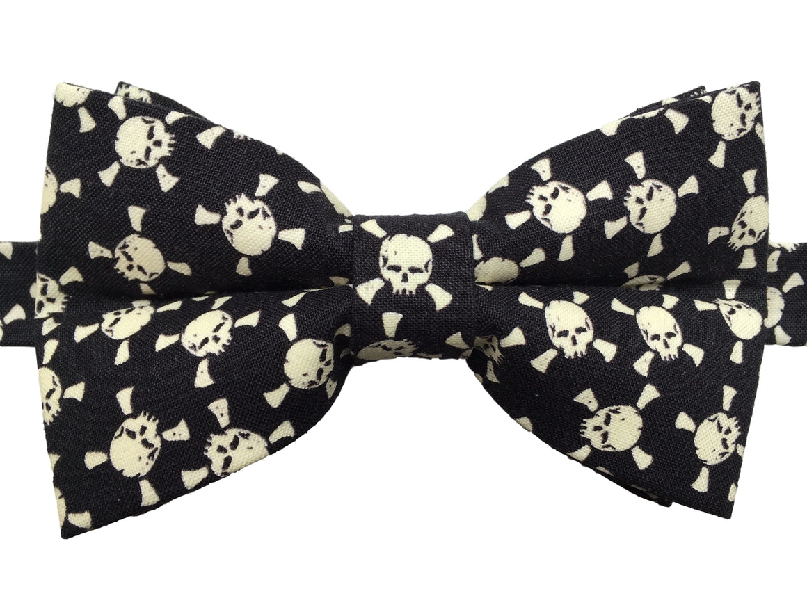 Glow in the Dark Skull and Crossbones Bow Tie