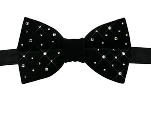Black Velvet Bow Tie with Swarovski Crystals