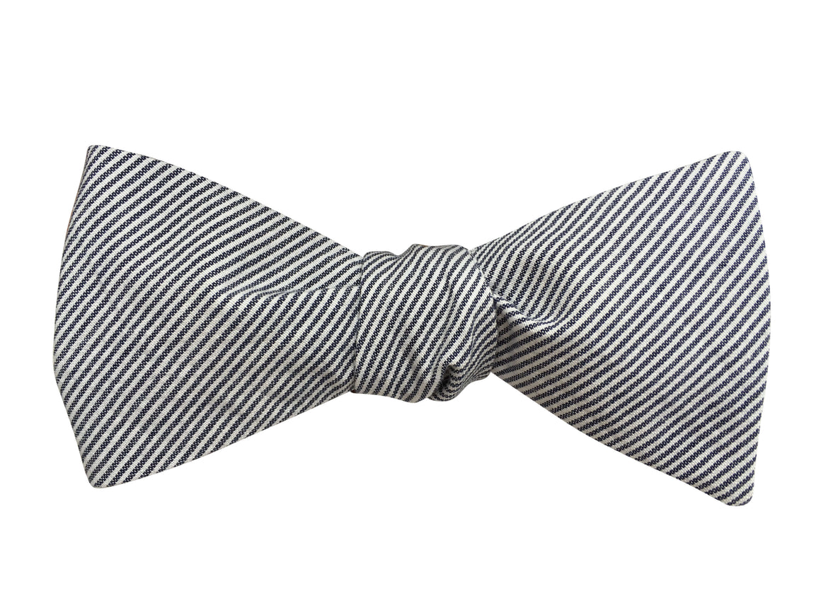 Grey and White Striped Chambray Self Tie Bow Tie