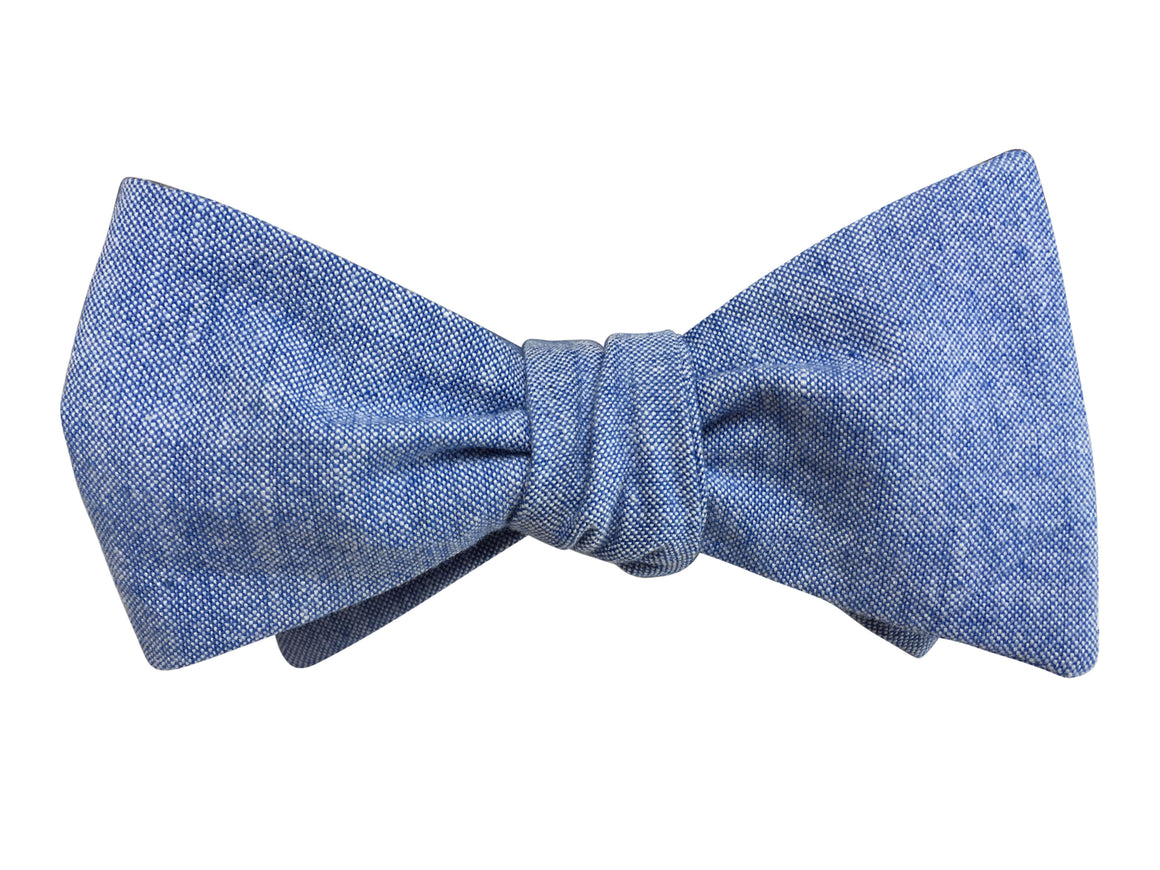 Blue Chambray Self Tie Bow Tie