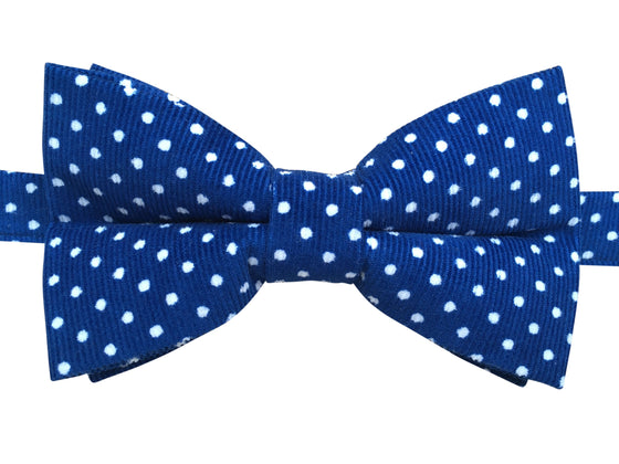 Funky Corduroy Bow Tie Blue With White Polka Dots