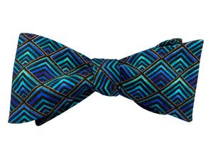 blue gold hypnotic bow tie