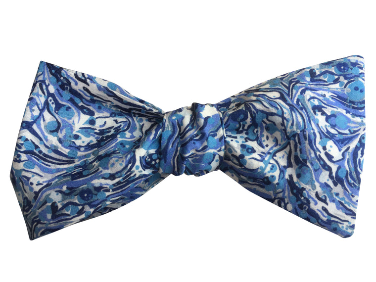 Blue Ink Self-Tie Bow Tie