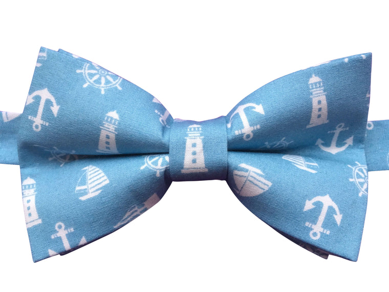 Funky Nautical Blue Bow Tie