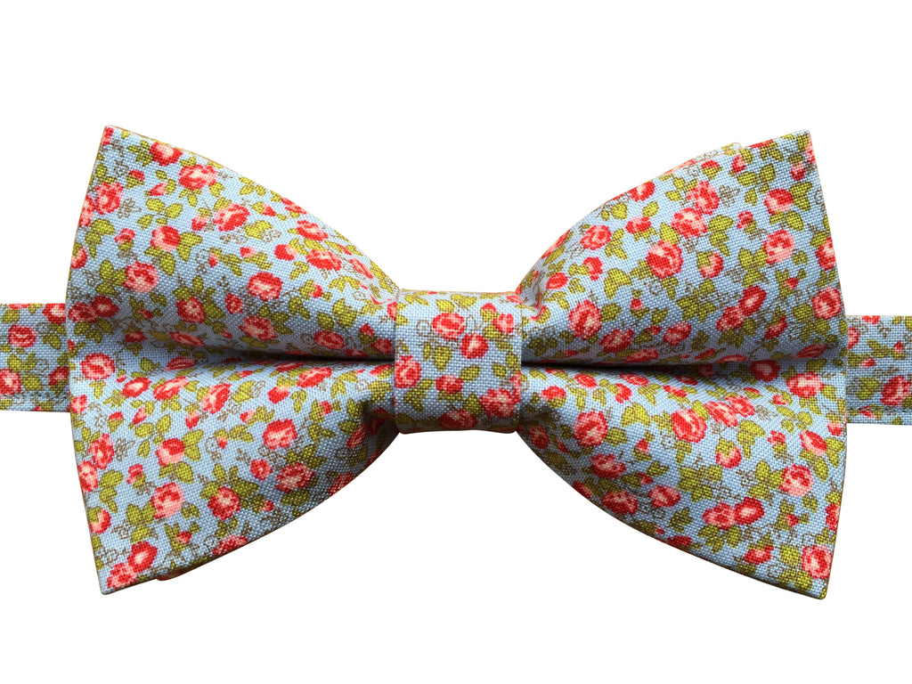 Pink Floral Bow Tie on Blue