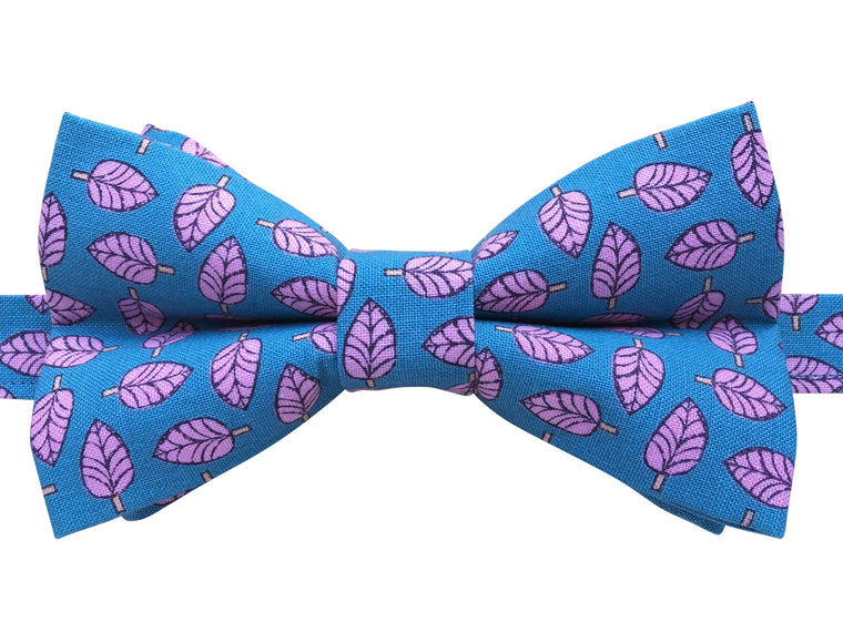 Blue Bow Tie with Pink Leaves