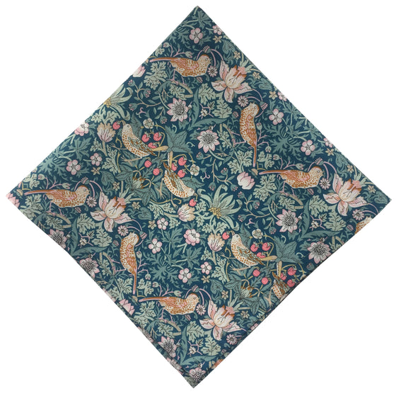Liberty Blue 'Strawberry Thief' Pocket Square